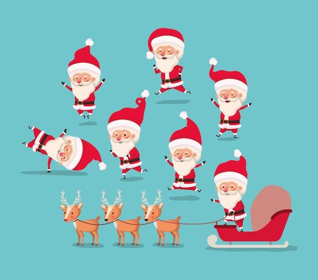 Groep de kerstman en rendier Gratis Vector