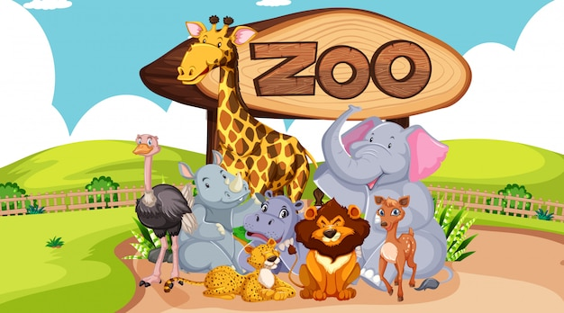 Groep dieren met dierentuinteken Premium Vector