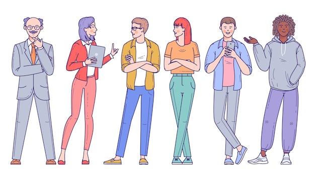 Groep diverse mensen, mannen en vrouwen van verschillende rassen, beroepen en leeftijden die op een witte achtergrond worden geïsoleerd. tekenset. Premium Vector