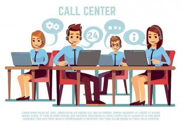 Groep exploitanten met hoofdtelefoon ondersteunend mensen in call centrebureau. zakelijke ondersteuning en telemarketing vectorillustratie Premium Vector