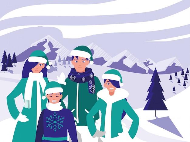 Groep familie met klerenkerstmis in de winterlandschap Premium Vector