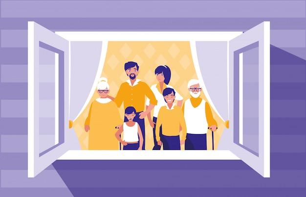 Groep familieleden in het venster Premium Vector