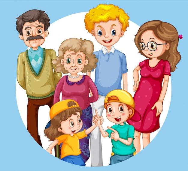 Groep familielid karakters Gratis Vector