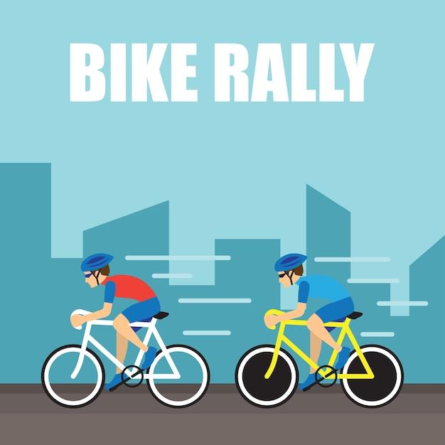 Groep fietser op professionele race voor fiets rally evenement Premium Vector