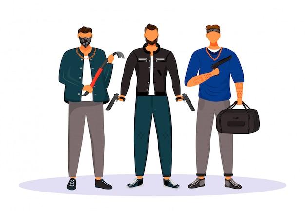 Groep gangsters platte karakters Premium Vector