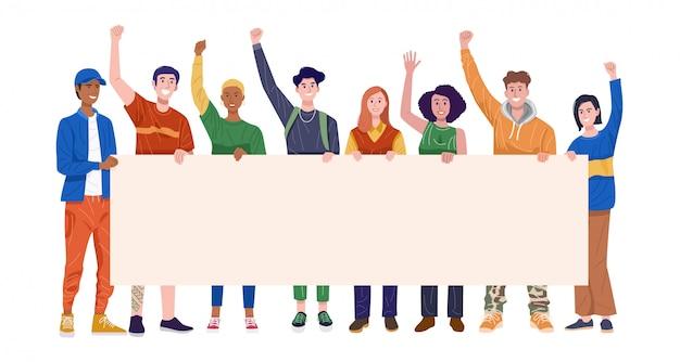 Groep gelukkige jonge mannen en vrouwen die banner houden. vector Premium Vector