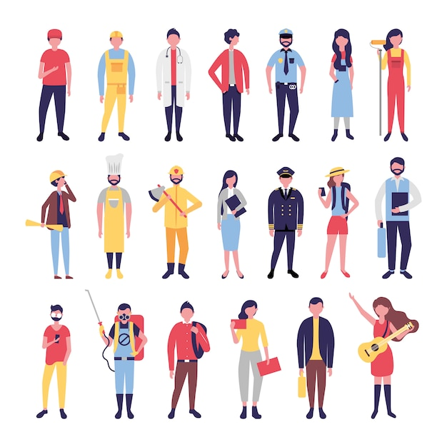 Groep gemeenschapsmensen bundelen karakters Gratis Vector