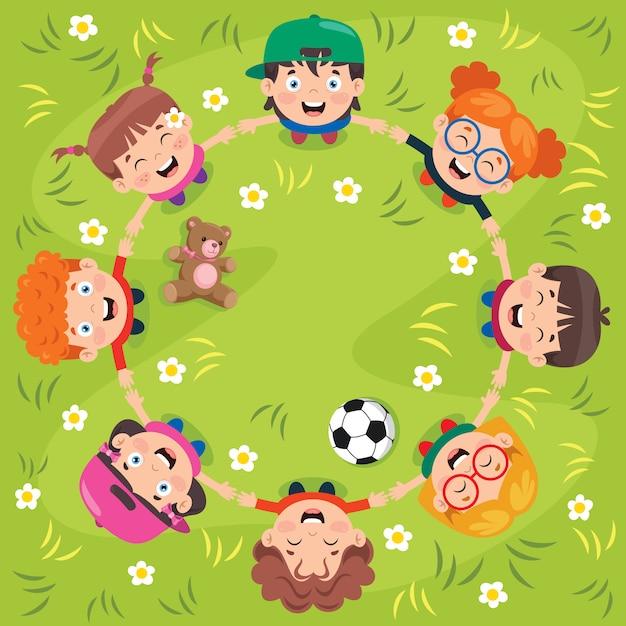 Groep grappige spelende kinderen Premium Vector