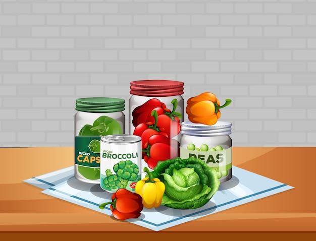 Groep groenten met groente in potten op tafel Gratis Vector