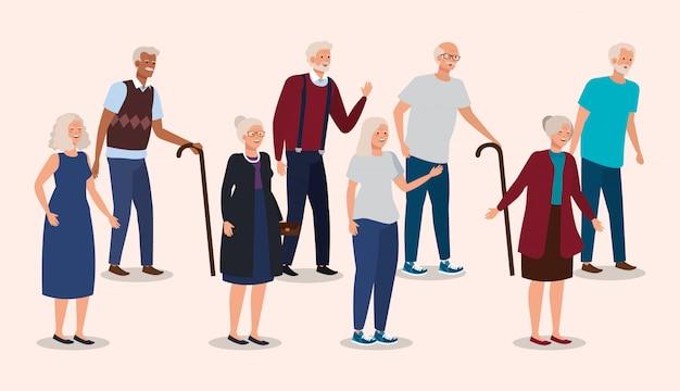Groep grootouders elegant avatar karakter Gratis Vector