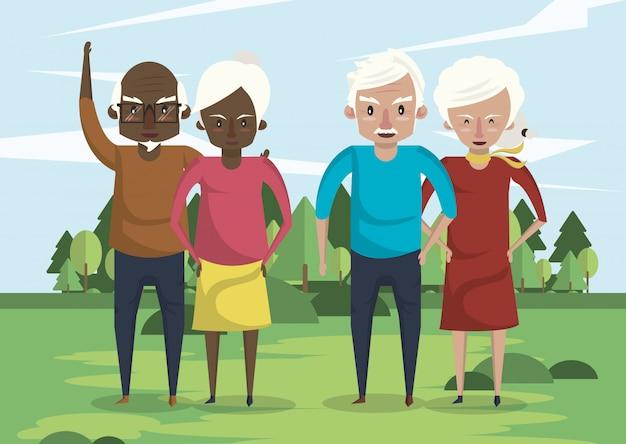 Groep grootoudersparen tussen verschillende rassen in het gebied Premium Vector