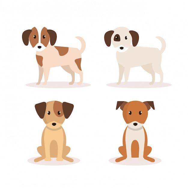 Groep honden pictogrammen Gratis Vector