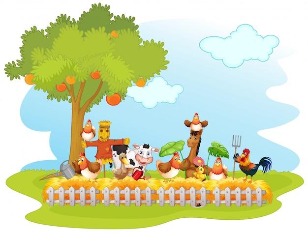 Groep huisdieren in een geïsoleerde boerderij Gratis Vector