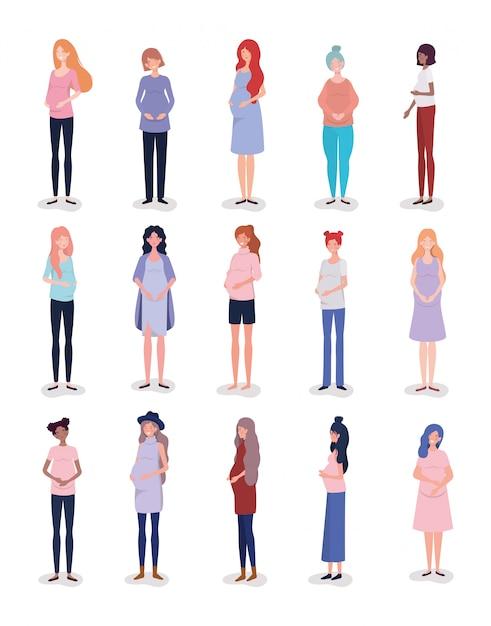 Groep interracial vrouwenzwangerschapskarakters Gratis Vector