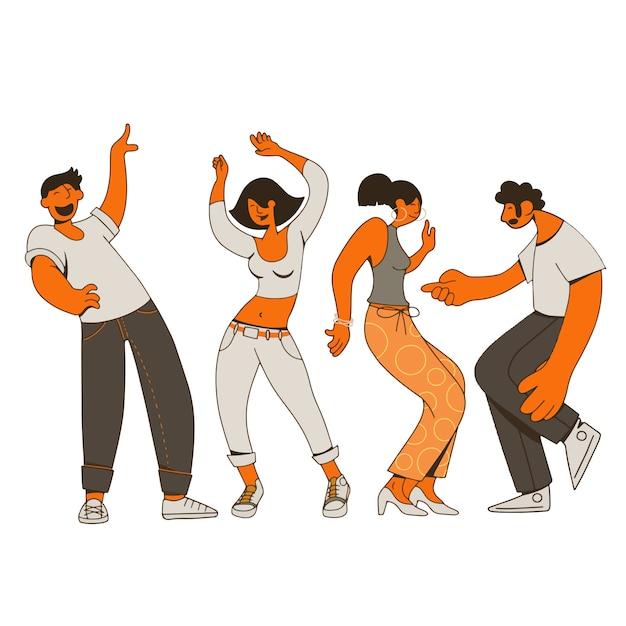 Groep jonge gelukkige dansende mensen of mannelijke en vrouwelijke dansers die op achtergrond worden geïsoleerd Premium Vector