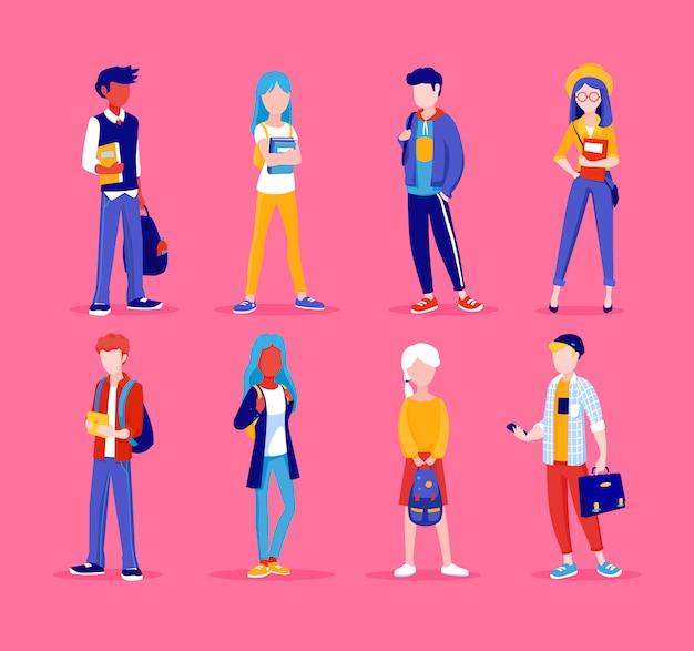 Groep jonge mensen, die samen in verschillende poses staan. studenten, schoolkinderen illustratie in cartoon-stijl. aantal tieners. Premium Vector