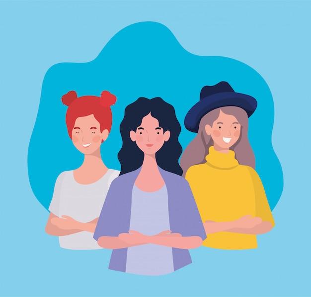 Groep jonge vrouwen staande personages Gratis Vector