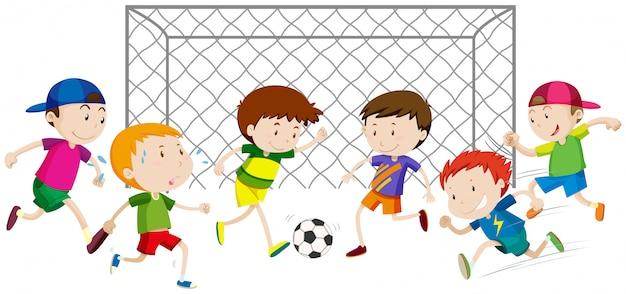 Groep jongens die voetbal spelen Gratis Vector
