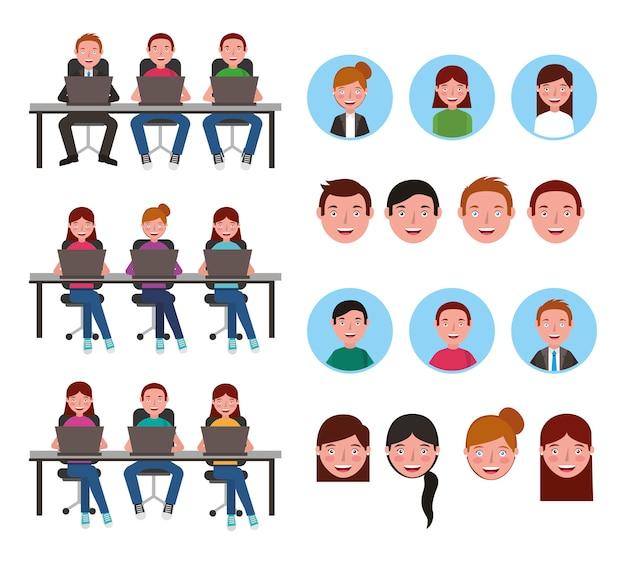 Groep jongeren die computers gebruiken Gratis Vector
