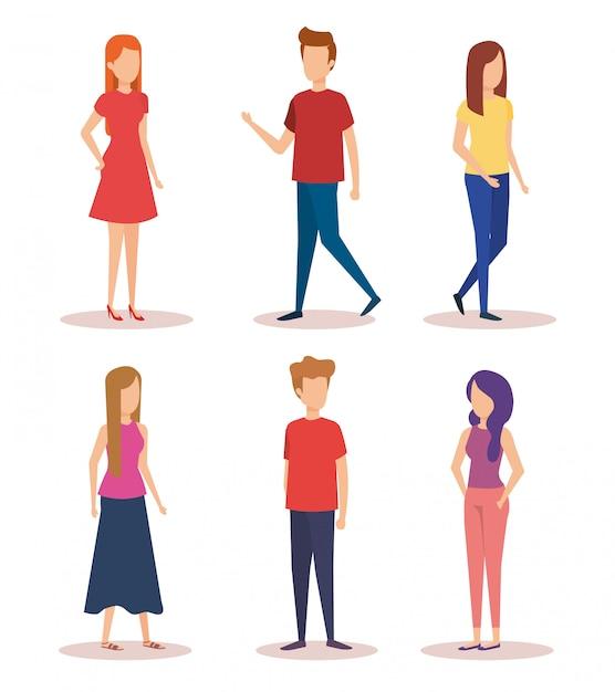 Groep jongeren karakters Gratis Vector