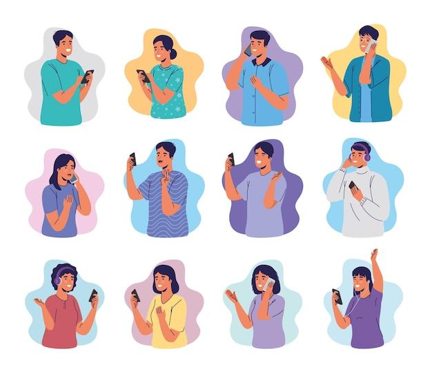 Groep jongeren met behulp van smartphones Premium Vector