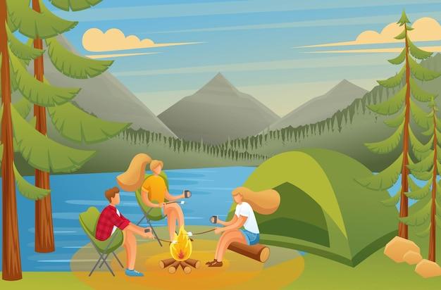Groep jongeren op een camping, zittend bij een vuur in het bos Premium Vector