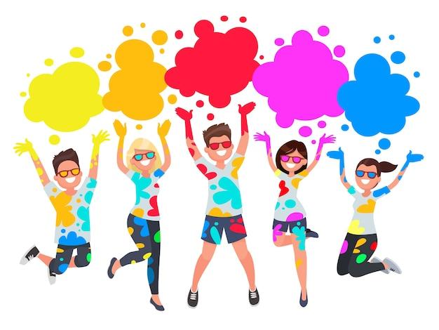 Groep jongeren viert noli. mannen en vrouwen gooien gekleurde verf. Premium Vector