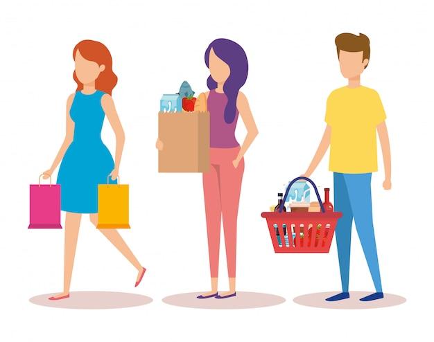 Groep jongeren winkelende karakters Gratis Vector