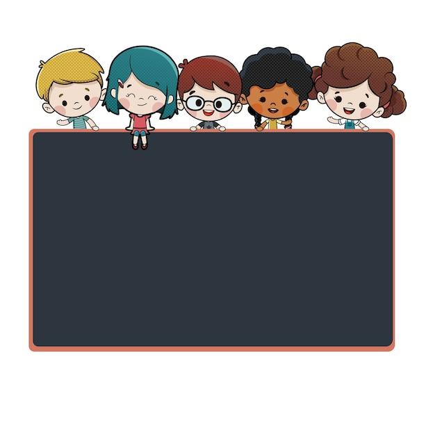 Groep kinderen met een schoolbord Premium Vector
