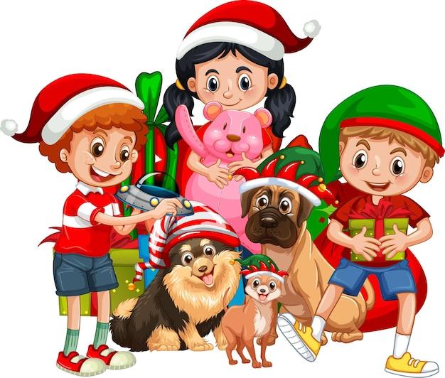 Groep kinderen met hun hond dragen kerst kostuum stripfiguur op witte achtergrond Gratis Vector