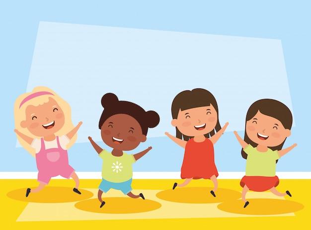 Groep kleine karakters tussen verschillende rassen meisjes Premium Vector