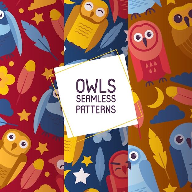Groep kleurrijke heldere vogels. de nachtvogels van beeldverhaaluilen met grote open en gesloten ogenreeks van naadloze patronen vectorillustratie. Premium Vector