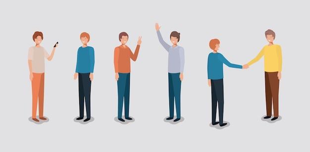 Groep mannen die smartphone gebruiken Premium Vector