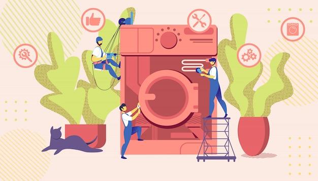 Groep masters tot vaststelling van enorme gebroken wasmachine Premium Vector