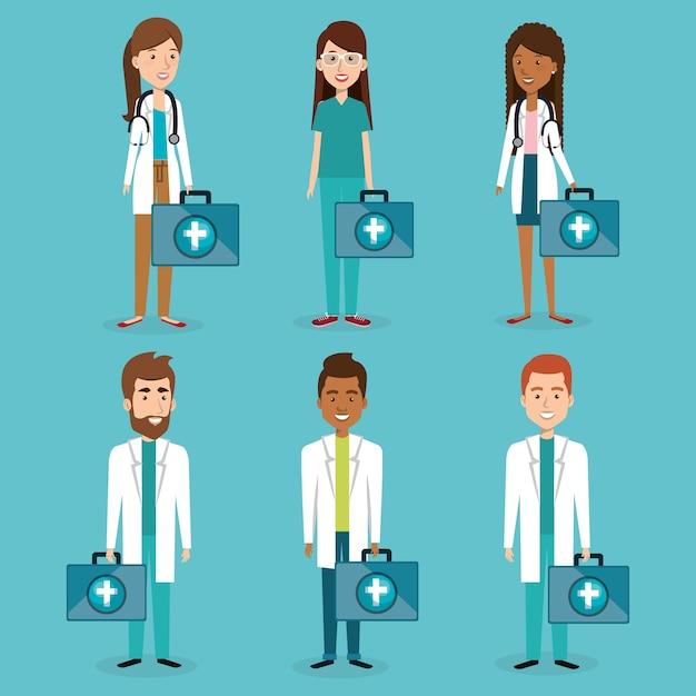 Groep medisch personeel met uitrustingskarakters Premium Vector