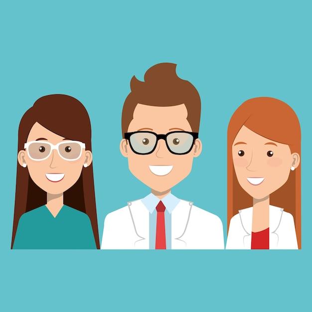 Groep medische stafpersonages Premium Vector