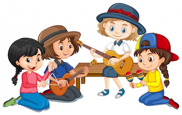 Groep meisjes die verschillende instrumenten spelen Gratis Vector