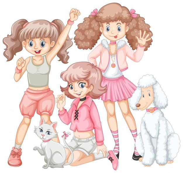 Groep meisjes en huisdieren Gratis Vector