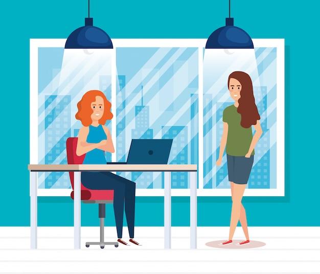 Groep meisjes op de werkplek Gratis Vector