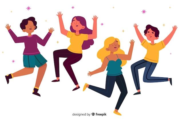 Groep meisjes samen springen Gratis Vector