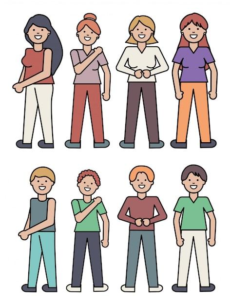 Groep mensen avatars tekens Gratis Vector