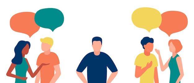 Groep mensen communiceert, negeert de introverte man, outcast. eenzaamheid, onwetendheid, discriminatie, onverschilligheid voor teamgenoot. Premium Vector