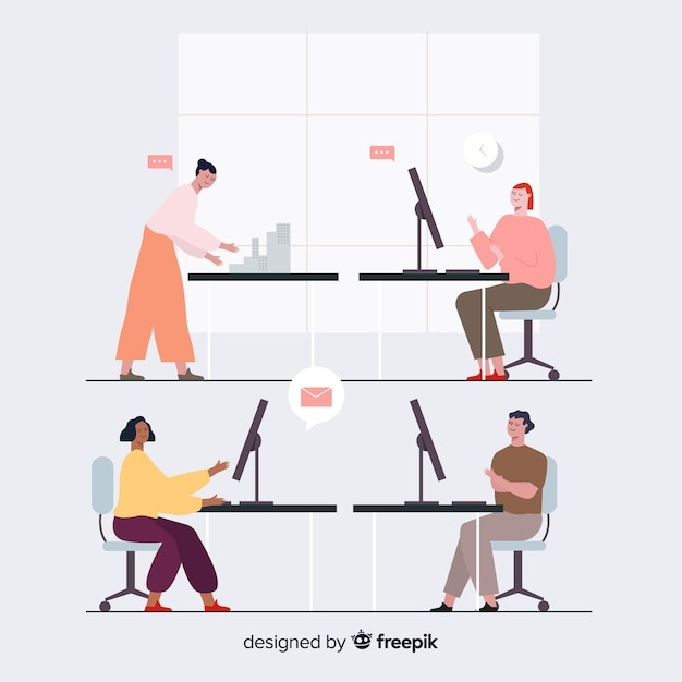 Groep mensen die aan hun bureau werken Gratis Vector
