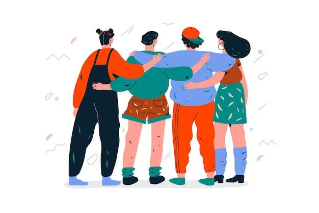 Groep mensen die elkaar op geïllustreerde de jeugddag koesteren Gratis Vector