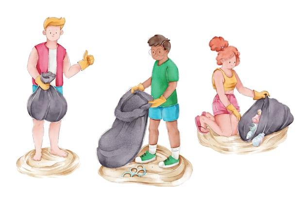 Groep mensen die het strand schoonmaken Gratis Vector