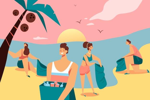 Groep mensen die strandconcept schoonmaken Gratis Vector