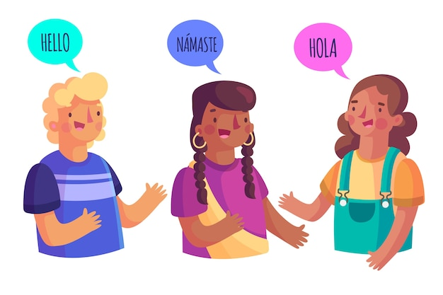 Groep mensen die verschillende talen spreken Gratis Vector