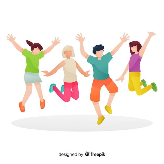 Groep mensen geïllustreerd springen Gratis Vector