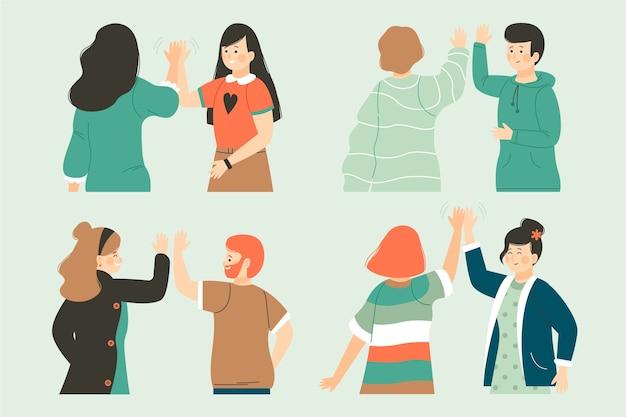 Groep mensen geven high five Gratis Vector