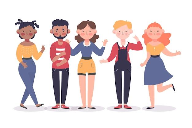 Groep mensen illustratie Gratis Vector